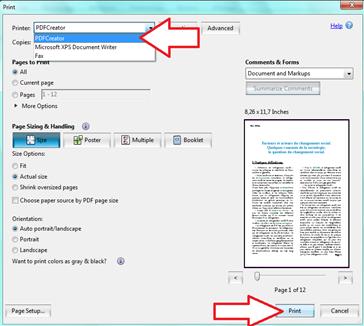 Imprimer avec PDFCreator