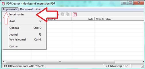 Bouton Imprimante PDFCreator