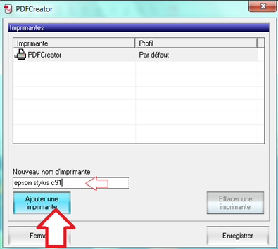 Ajouter une imprimante dans PDFCreator