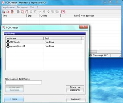 Imprimante ajoutée dans PDFCreator
