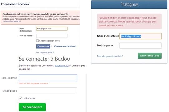 Mot de passe oublié (Facebook, Instagram, Badoo)