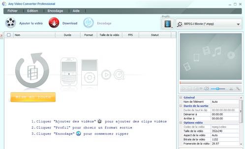 Fenêtre d'accueil Any Video Converter