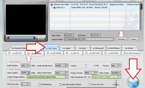 Choix du format de sortie - HD Video