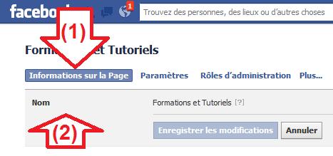 Information pour changer le nom d'une page Facebook