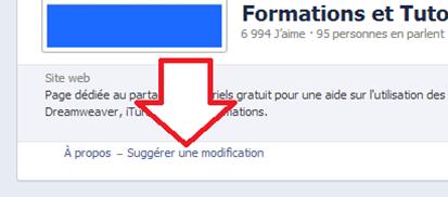 Bouton pour suggérer des modifications sur une page Facebook
