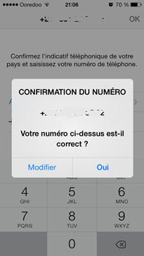 Confirmation du numéro de téléphone WhatsApp