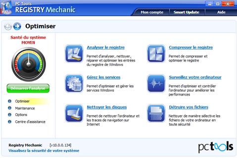 Fenêtre d'accueil Registry Mechanic