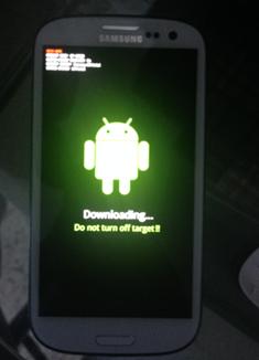 Galaxy S3 en mode downloading