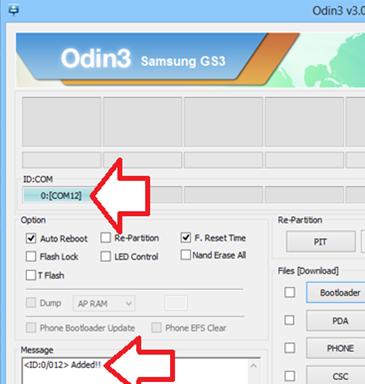 Odin prêt à installer le Root pour galaxy S3