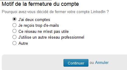 Motif de fermeture du compte LinkedIn