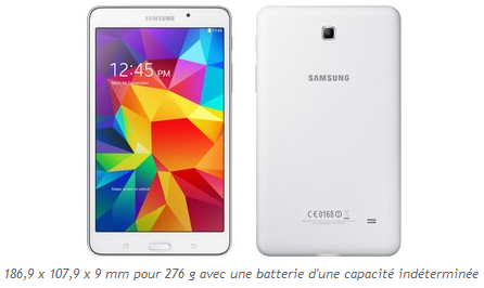 Galaxy Tab 4 109*9 mm blanc