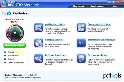 Fenêtre Registry Mechanic