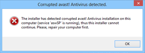 Message d'erreur Avast (service aswSP is running)