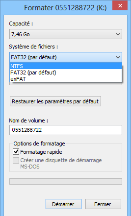 Formater un flash disque
