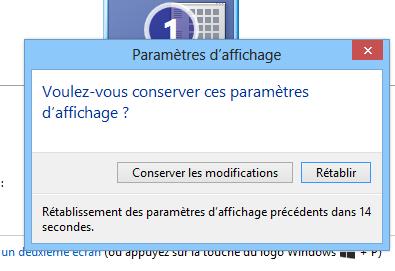 Confirmation pour renverser l'écran Windows