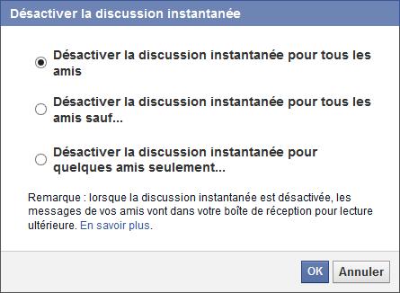 Choix de la discussion instantanée de Facebook