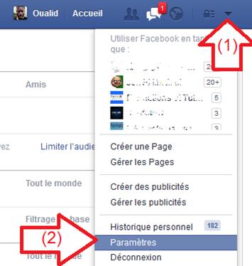 Paramètres du compte Facebook