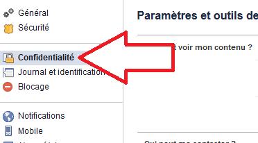 Confidentialité du compte Facebook