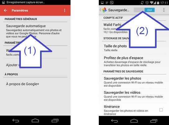 Sauvegarde automatique des photos Android