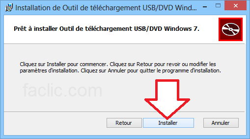 Installation de Windows 7 USB/DVD Download Tool
