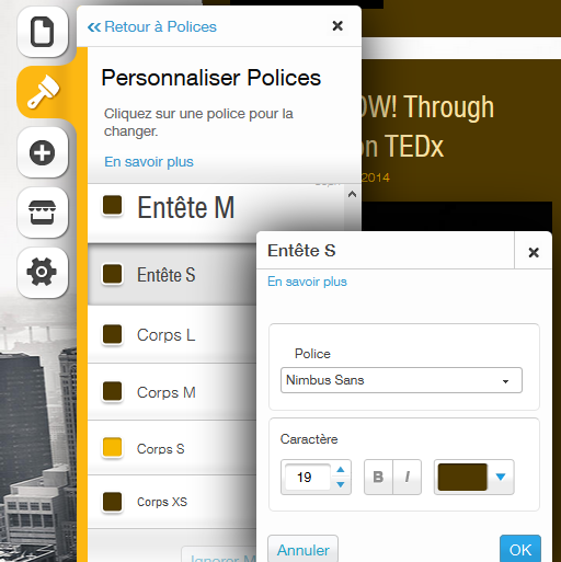 Personnaliser les polices d'un site Wix
