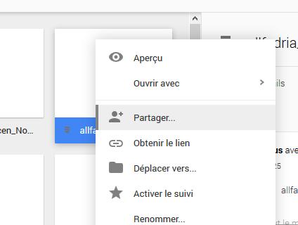 Bouton pour partager un fichier Drive