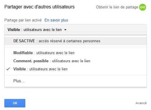 Désactiver le partage d'un fichier Google Drive