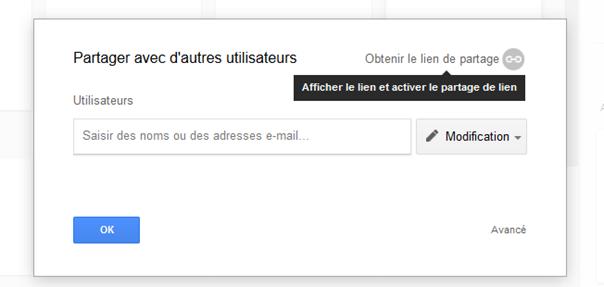 Partager fichier Google Drive