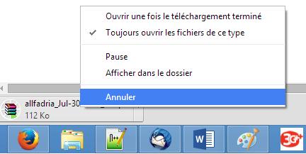 Annuler téléchargement Chrome