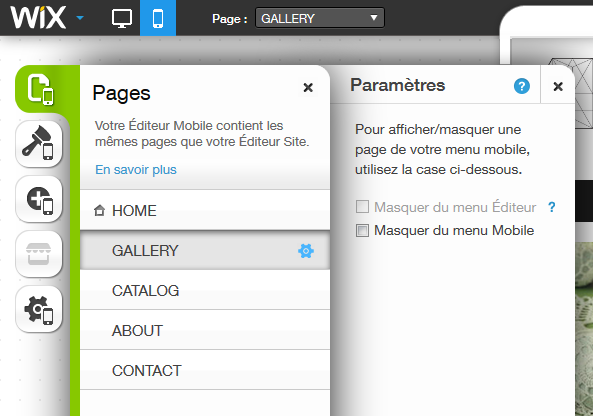 Les pages du site en responsive design