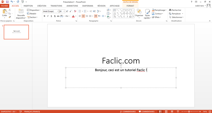 Première diapositive