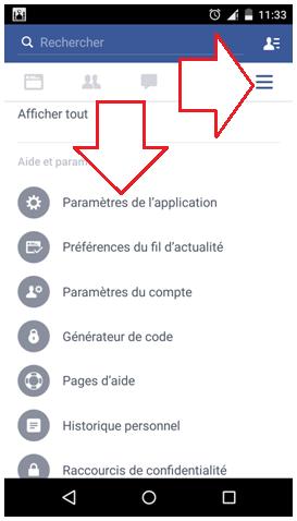 Paramètres Facebook sur Android