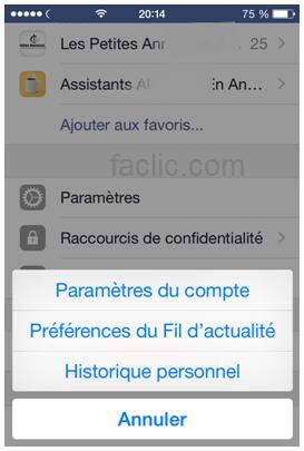Avertissement iPhone pour accèder aux paramètres Facebook