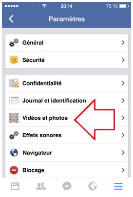 Paramètrs des photos et vidéos Facebook