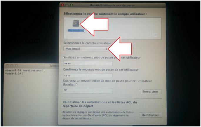 Fenêtre de modification du mot de passe Macbook