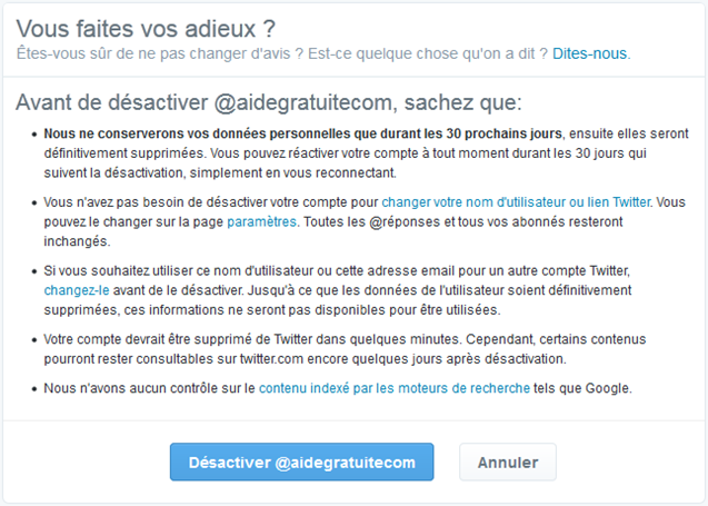 Alerte avant suppression du compte Twitter
