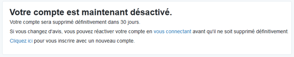 Message de suppresion du compte Twitter