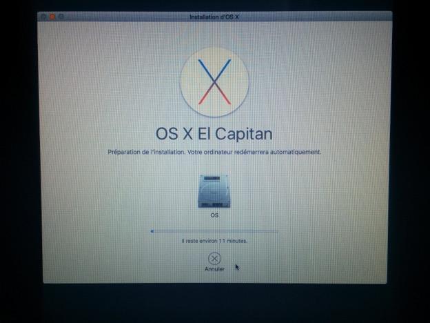 Fin de l'installation d'OS X