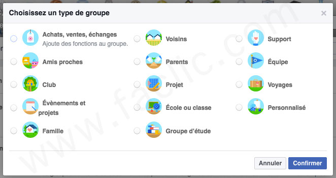 Type de groupe Facebook