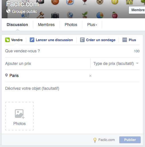 Publication de vente Facebook