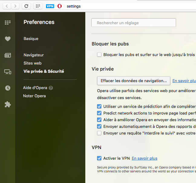 VPN Opera Developer
