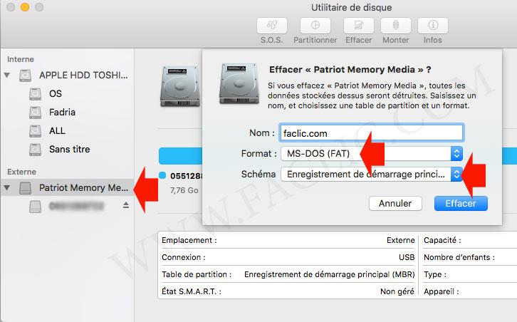 Formater clé usb MAC