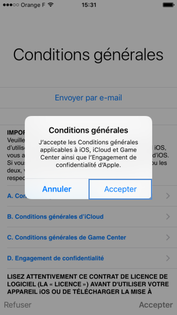 Accepter les conditions d'utilisation iOS