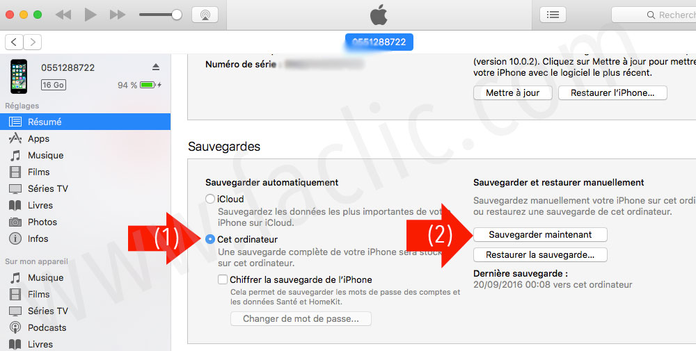 Sauvegarder un iPhone ou iPad