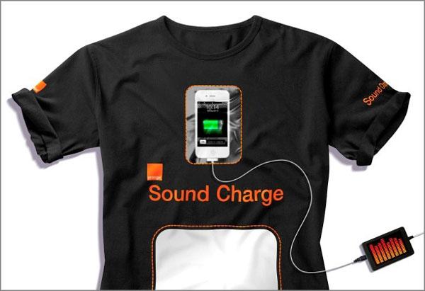 T-shirt charger téléphone