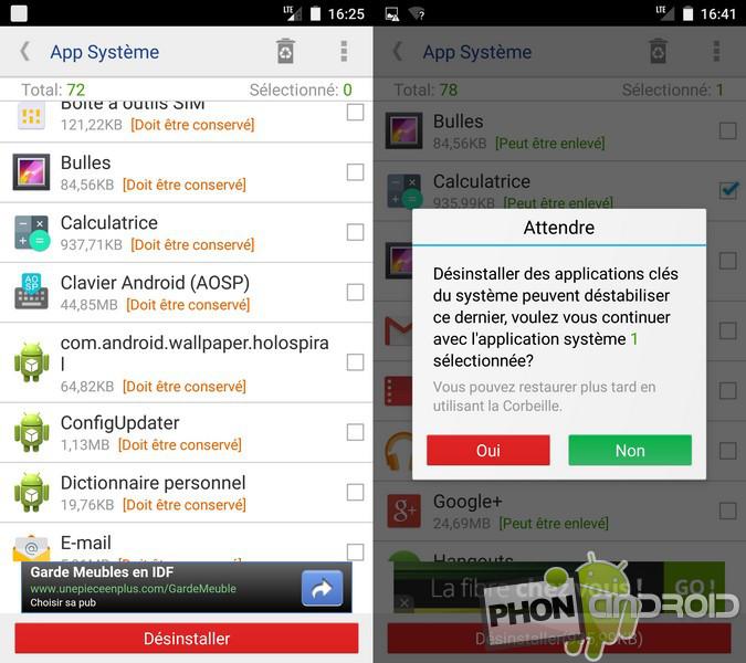 Désinstaller application par défaut Android