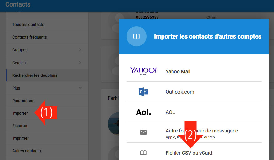 Importer contact Gmail