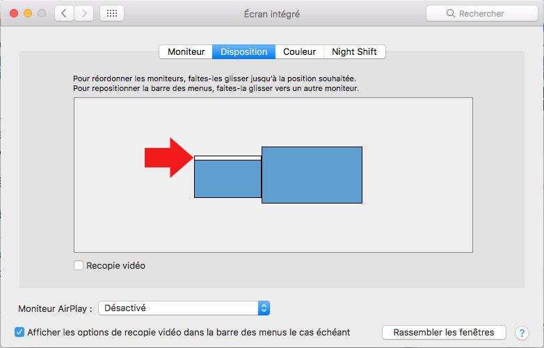 Position des écrans sur MAC
