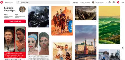 Page d'accueil de Pinterest